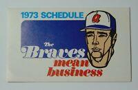 Old Vintage 1973 Atlanta Braves Major League Baseball MLB Schedule Hank Aaron