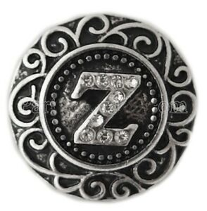 Silver Plated Rhinestone Monogram Letter Z 20mm Snap Charm For Ginger Snaps