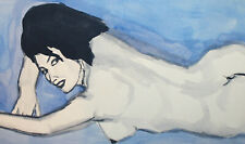 Vintage fauvist watercolor painting nude female portrait