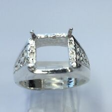 10x10mm Square Men's Sterling Silver Pre-Notched Ring Setting Size 10