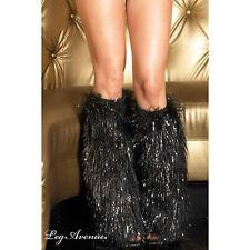 SEXY FURRY LEG WARMERS BLACK LUREX YETI FLUFFY MONSTER RAVE CLUB WEAR LEG AVENUE