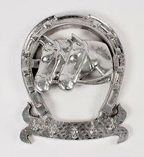 Horse Heads Horseshoe Key Rack Rhodium Plated Shiney Silver