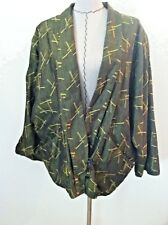 Vintage 80 women jacket dress oversized jacket gold green Asian ish pocket S M L