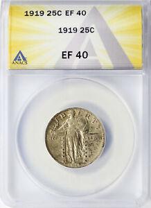 1919 25c Standing Liberty Quarter ANACS EF40