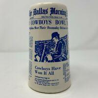 Vintage 1972 Dallas Cowboys VI Super Bowl Mug Stein Dallas Newspaper Headlines