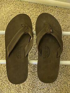 Mens Brown XL Rainbow Sandals US Mens Size 11 - 12 Flip Flops