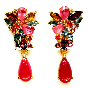 NATURAL PINK RUBY, SAPPHIRE & RHODOLITE GARNET EARRINGS 925 STERLING SILVER
