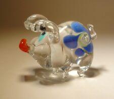 "Blown Glass ""Murano"" Art Animal Figurine Swine Clear PIG with a Blue Flower"