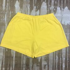 Vintage NIKE Lined Joggers Shorts Yellow w/ Thin White Stripe Womens Medium 8-10