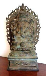 Antique Indian Hindu Bronze Figure Lord Ganesha, Elephant God c. 1900