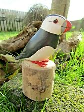 More details for fair trade hand carved made wooden puffin wild bird ornament sculpture statue