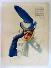 1940 Esquire Vargas Pin Up Girl Centerfold Blond in Blue Feather Hat