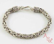 """Sterling Silver Vintage 925 Hooked Byzantine Bracelet 6.5"""" (27g) - 813748"""