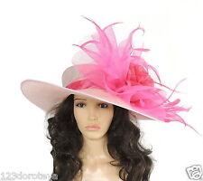Xl Hot Pink Candy Fucsia Ascot Sombrero, Bodas, Derby De Kentucky