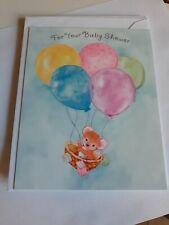 Hallmark Small Baby Shower Greeting Card, Balloons Bear, Blue, Pink, boy or girl