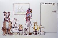 Art Greeting Card Animals Dog Cats Pets Paws Parrot Vet Doctor Get Well Drawing