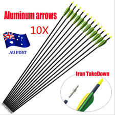 "10x 32"" EXTRA HEAVY DUTY ALUMINIUM ARROWS FOR COMPOUND AND RECURVE BOW ARCHER MN"