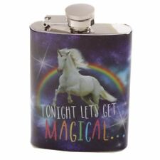 Unicorn Lets Get Magical Rainbow Stainless Steel Mini Hip Flask 4oz