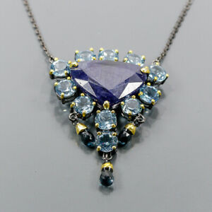 """Handmade Blue Sapphire Necklace 925 Sterling Silver  Length 19""""/N06254"""