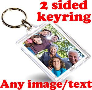 CUSTOM 45mm x 35mm Keyrings | Personalised Bespoke Acrylic Keyring Key Fob