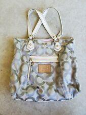 Coach 16386 Poppy Op Art Glam Silver Tote Bag
