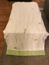 "Pottery Barn Kids   ""Frogs & Dragonflies"" 72 X 72 White Fabric Shower Curtain"