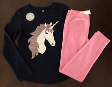 Gap Kids Girl Navy Unicorn Flippy Top & Pink Sparkle Leggings 8 9 10 11 12 13