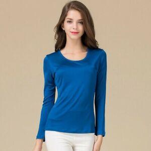 Women's 50% Silk 50% Viscose Crew Neck Base Layer T-Shirts Long Sleeve HY111