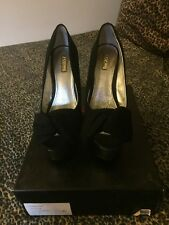 WILD PAIR HIGH HEELS, Black Bow W/Metallic Silver Platform Heel