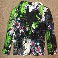 Alberto Makali Silk Multicolor Floral Print LS Waist Tie Jacket, 10
