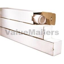 3x3x37 White Box Corrugated Square Mailing Tube Shipping Storage 50 Tubes