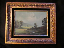 NEAL SIGNED VINTAGE OIL PAINTING PLEIN AIR LANDSCAPE CLOUDS TREES HILLS FRAMED