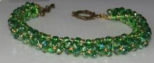 Green swarovski bracelet with copper tone toggle clasp for St Patty's Day