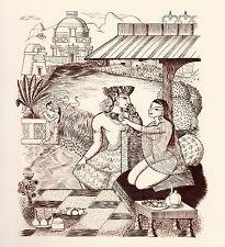 Gravure érotique indienne - Érotisme - Inde - Collier de fleurs