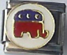 Republican Party Elephant 9mm Italian Charm Fits Standard Bracelet