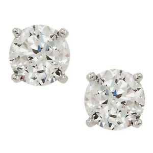 QVC Diamonique Platinum Clad 100-Facet 4.00 cttw Ladies Stud Earrings