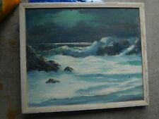 PAINTING OIL ON CANVAS SEASCAPE DON FOSTER MOONLIGHT AT MONTEREY