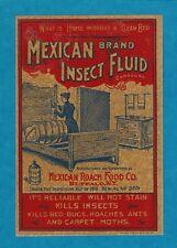 "Rare Old Original 1910 Bed Bug Killer ""Mexican Brand"" Bottle Label Buffalo Ny"