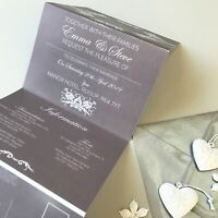 Classic Grey Day or Evening Personalised Wedding Invitations Concertina Fold