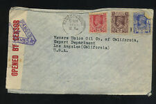 1941 Censored Air Mail Cover Rangoon Thailand To Union Oil California Rare