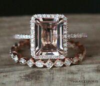 925 Sterling Silver Emerald Cut Morganite Halo Engagement Bridal Handmade Ring