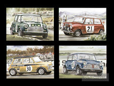 Sporting Mini Cooper Rally John Rhodes Paddy Hopkirk Steve Neal Postcards