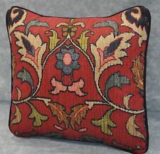 "Pillow made w Ralph Lauren Poet's Society Burgundy Tapestry Fabric 12"" Trim Cord"