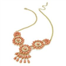 Coral Pink Tone Necklace Shiny Gold Colour Bead Chain Necklace