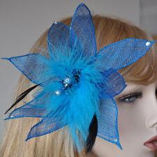 Fascinator Parure pour cheveux épingle Fleur Plumes Turquoise Bleu Pince à