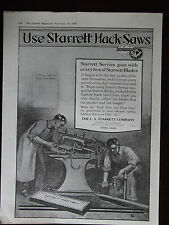 1920 Starrett Hack Saws Original Advertisement