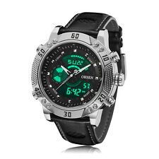 Mens XXL Case Military Army Digital Leather Sport Quartz Watch WaterProof Black