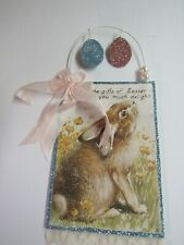 Bethany Lowe Easter Post Card Ornament Tl8710 W Bunny Rabbit