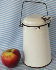 Vintage metal CREAM CAN milk carrier canister WHITE ENAMEL WARE lid Kitchenalia