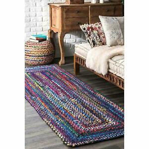 Rug Runner 100% Natural Cotton Braided 2.6x6 Feet  Reversible Handmade Area Rug